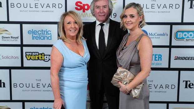 Press Eye - Belfast - Northern Ireland - 20th January  2020   Ann Murphy, Pat Jennings and Paula Mahoney pictured at the 2019 Belfast Telegraph Sport Awards at the Crowne Plaza Hotel in Belfast.  Photo by Kelvin Boyes / Press Eye.