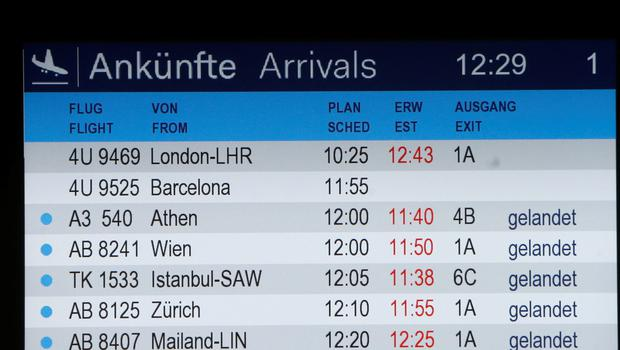 The arrivals board shows flight 4U 9525 without a status at the airport in Duesseldorf, Germany, Tuesday, March 24, 2015, after a Germanwings passenger jet carrying 148 people crashed in the French Alps region as it traveled from Barcelona to Duesseldorf. (AP Photo/Frank Augstein)