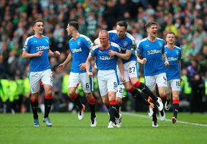 GLASGOW, SCOTLAND - APRIL 17:  Kenny Miller of Rangers celebrates scoring the opening goal during the Scottish Cup Semi Final between Rangers and Celtic at Hampden Park on April 17, 2016 in Glasgow, Scotland. (Photo by Ian MacNicol/Getty)