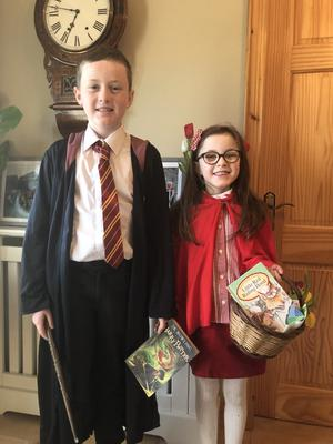 Sam Little age 9, as Harry Potter and sister Bethany (7) as Little Red Riding Hood. From Lisbellaw, Co Fermanagh