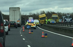 A lorry has hit the central reservation on the M1 Photo: Stephen Robinson