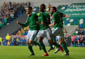 Steve Davis (L) of Northern Ireland celebrates after scoring during the UEFA EURO 2016 qualifier between Northern Ireland and Greece at Windsor Park on October 8, 2015 in Belfast, Northern Ireland.  (Photo by Charles McQuillan/Getty Images)