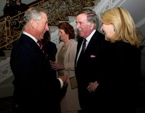Sir Terry Wogan meeting the Prince of Wales (left) at the Irish Embassy in London, in 2010