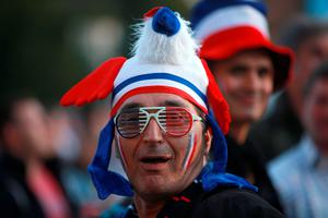 A France fan shows his support during the Rugby World Cup match at Twickenham Stadium, London. PRESS ASSOCIATION Photo. Picture date: Saturday September 19, 2015. See PA story RUGBYU France. Photo credit should read: David Davies/PA Wire. RESTRICTIONS: Editorial use only. Strictly no commercial use or association without RWCL permission. Still image use only. Use implies acceptance of Section 6 of RWC 2015 T&Cs at: http://bit.ly/1MPElTL Call +44 (0)1158 447447 for further info.