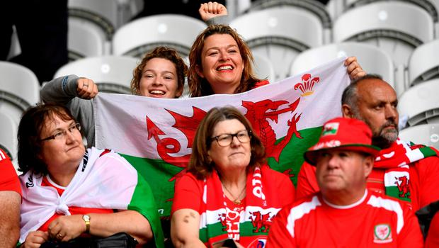 LILLE, FRANCE - JULY 01:  Wales fans show their support prior to the UEFA EURO 2016 quarter final match between Wales and Belgium at Stade Pierre-Mauroy on July 1, 2016 in Lille, France.  (Photo by Stu Forster/Getty Images)