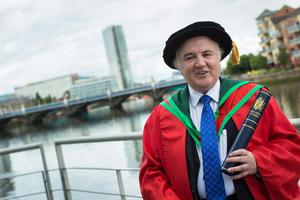 Entrepreneur Terry Cross received the honorary degree of Doctor of Science (DSc) for his distinguished services to business. (Photo: Nigel McDowell/Ulster University)