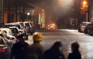 The scene outside Derry Court House on Bishop Street following a bomb explosion. Picture by Press Eye  / Lorcan Doherty
