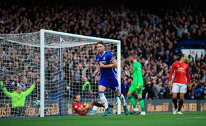 "Chelsea's Gary Cahill scores his side's second goal of the game during the Premier League match at Stamford Bridge, London. PRESS ASSOCIATION Photo. Picture date: Sunday October 23, 2016. See PA story SOCCER Chelsea. Photo credit should read: John Walton/PA Wire. RESTRICTIONS: EDITORIAL USE ONLY No use with unauthorised audio, video, data, fixture lists, club/league logos or ""live"" services. Online in-match use limited to 75 images, no video emulation. No use in betting, games or single club/league/player publications."
