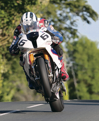 Speed man:Michael Dunlop on his way to setting the quickest practice time of the week in the Isle of Man last night