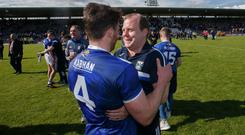Breffni call: Cavan's Conor Moynagh celebrates with manager Mickey Graham and now they have their sights on lifting the Ulster title