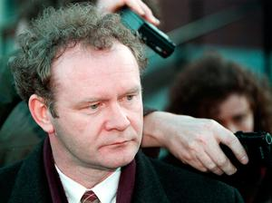 File photo dated 26/02/96 of Sinn Fein's Martin McGuinness speaking to the media after a meeting with Government officials at Castle Buildings, Stormont. PA
