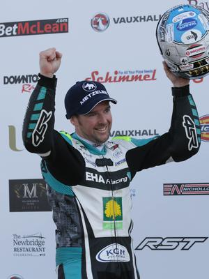 PACEMAKER BELFAST  19/05/2018 North West 200 2018 Alastair Seeley (34) celebrates victory during todays Betmcclean.com Supersport race in the Vauxhall International North West 200. Photo Stephen Davison/Pacemaker Press