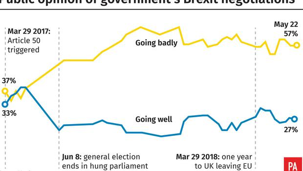 Public opinion of Government's Brexit negotiations (PA Graphics)