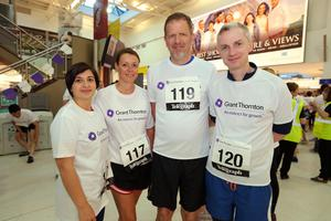 Press Eye - Belfast -  Northern Ireland - 24th June 2015 - Kelly Rock, Sarah Little, Richard Linden and Jonny McCambridge at  the first ever Grant Thornton Runway Run at Belfast City Airport this evening. Picture by Kelvin Boyes / Press Eye.