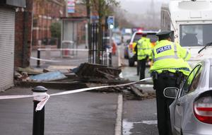 Presseye - Belfast - Northern Ireland - 16th October 2017  The scene on the Albertbridge in East Belfast after the front of a building collapsed as Hurricane Ophelia begins to batter the city.  Photo by Matt Mackey