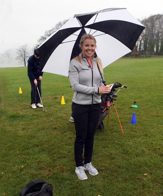 All smiles: Stephanie Meadow during her visit to Rockport School Golf Academy