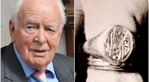 Actor Tony Britton and the missing ring (PA/handout)