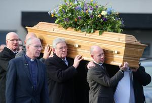 Press Eye - Belfast - Northern Ireland - 14th January 2018  Funeral for former Belfast Lord Mayor Dr Ian Adamson at Conlig Presbyterian Church in Co. Down.  The 74-year-old who died last week was a Ulster Unionist Party politician, medical doctor and historian, Dr Adamson served as Lord Mayor of Belfast in 1996/7, high sheriff in 2011 and was an Assembly member for the constituency of East Belfast from 1998 to 2003.  Dr Adamson's coffin leaves the church after the service.   Picture by Jonathan Porter/PressEye