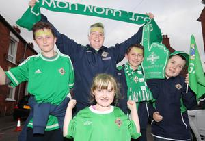 Northern Ireland fans (L-R) Ethan Gibson(14), Lewis Orr-McCauley(16), Mathew Gibson(12), Samantha Orr-McCauley(6) and Grant Orr-McCauley(11). Picture by Jonathan Porter/PressEye