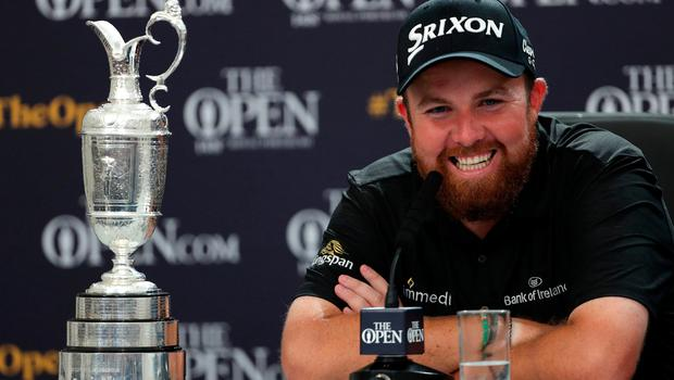 Republic Of Ireland's Shane Lowry during a press conference after winning the Claret Jug during day four of The Open Championship 2019 at Royal Portrush Golf Club. Pic: Richard Sellers/PA Wire.