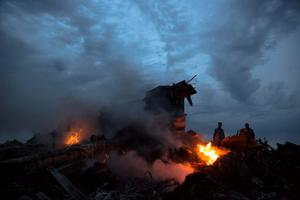 People walk amongst the debris at the crash site of a passenger plane near the village of Grabovo, Ukraine, Thursday, July 17, 2014. (AP Photo/Dmitry Lovetsky)