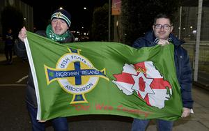 12th November 2020 Northern Ireland fans pictured as they arrive at the National Stadium in Belfast ahead of tonights game against Slovakia William Dunne and Kyle Quinn from Armagh  Mandatory Credit : Stephen Hamilton