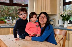 Suzie with her children Zander and Odelia at her Lisburn home