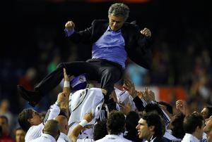 FILE - JUNE 02, 2013:  Jose Mourinho has been confirmed as Chelsea FC manager, returning to the club for a second term in charge, having left the club in 2007. VALENCIA, BARCELONA - APRIL 20:  Head Coach Jose Mourinho of Real Madrid celebrates after the Copa del Rey final match between Real Madrid and Barcelona at Estadio Mestalla on April 20, 2011 in Valencia, Spain. Real Madrid won 1-0.  (Photo by Manuel Queimadelos Alonso/Getty Images)