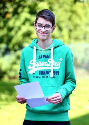 Picture - Kevin Scott / Belfast Telegraph  Belfast - Northern Ireland - Thursday 13th August 2015 - A Level Results Day   Pictured is Omar Helmy during A level results day at RBAI / Inst   Picture - Kevin Scott / Belfast Telegraph