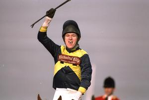 11 Mar 1997:  Tony McCoy celebrates on Make a Stand after winning the Smurfit Champion Hurdle, at the Cheltenham Festival. \ Mandatory Credit: Phil Cole /Allsport