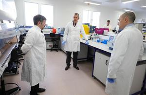 DAERA Minister Edwin Poots and Health Minister Robin Swann pictured with Principal Scientific Officer Ken Lennon at the Agri-Food and Biosciences Institute. DAERA plans to test up to 1,000 samples a day in fight against COVID-19