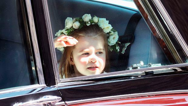 Prince Harry's niece and bridesmaid Princess Charlotte arrives for the wedding ceremony of Britain's Prince Harry, Duke of Sussex and US actress Meghan Markle at St George's Chapel, Windsor Castle, in Windsor, on May 19, 2018. / AFP PHOTO / POOL / Chris JacksonCHRIS JACKSON/AFP/Getty Images