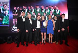 Young Team of the Year goes to the Northern Ireland Commonwealth Games Youth squad. Conor Ferguson, Danielle Hill, Ben Fisher and James McGivern collect their award from rugby legend Tommy Bowe and Muriel O'Grady, chair of the SUBWAY Ireland Marketing Board and franchisee. Picture by Kelvin Boyes/ Press Eye
