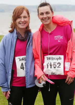 Northern Ireland- 23rd May 2014 Mandatory Credit - Photo-Jonathan Porter/Presseye.  Belfast Telegraph RunHer 10k coastal challenge from Seapark to Crawfordsburn.  Left to right.  Kelly Hargie and Denise Shaw from Belfaat at Seapark before the race.