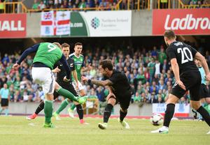 ©Press Eye - Belfast - Northern Ireland - 2nd June 2017  Vauxhall International Challenge Match Northern Ireland v New Zealand at Windsor Park Northern Ireland's Liam Boyce scores a goal against New Zealand Picture by Andrew Paton/Press Eye