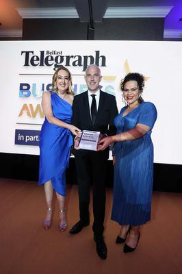Press Eye - Belfast - Northern Ireland - 2nd May 2019 -   The Belfast Telegraph Business Awards in association with Ulster Bank at the Crowne Plaza Hotel, Belfast.  Excellence in Marketing Sponsored by Phoenix Natural Gas Sara Murphy and Brenda Mulligan from SPAR Presented by Jonathan Martindale, Director of Sales and Marketing   Photo by Kelvin Boyes / Press Eye.