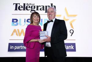 Press Eye - Belfast - Northern Ireland - 2nd May 2019 -   The Belfast Telegraph Business Awards in association with Ulster Bank at the Crowne Plaza Hotel, Belfast.  Excellence in Exporting Sponsored by the Northern Ireland Chamber of Commerce and Industry Tony Convery from CDE  Presented by Ann McGregor, Chief Executive  Photo by Kelvin Boyes / Press Eye.