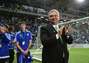 Picture - Kevin Scott / Press Eye  Eamonn Holmes  Belfast - Northern Ireland - 8th October 2016 - The National Football Stadium at Windsor Park Opening Game and Ceremony Northern Ireland vs San Marino 2018 FIFA World Cup Qualifier  Photo by Kevin Scott  / Press Eye