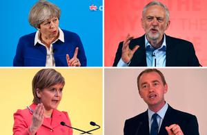 TOPSHOT - This combination of pictures made on June 6, 2017, shows Britain's Prime Minister and Leader of the Conservative party Theresa May (top L) on May 30, 2017 in Wolverhampton, Britain's main opposition Labour Party leader Jeremy Corbyn (top R) on May 22, 2017 in Kingston-upon-Hull, Scotland's First Minister and leader of the Scottish National Party Nicola Sturgeon (bottom L) on April 20, 2015 in Edinburgh, and Liberal Democrats leader Tim Farron (bottom R) on May 26, 2017 in Manchester. Britain goes to the polls to vote in a general election on June 8.  / AFP PHOTOLEON NEAL,OLI SCARFF,LESLEY MARTIN/AFP/Getty Images