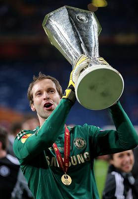Chelsea goalkeeper Petr Cech celebrates with the UEFA Europa League trophy after winning the UEFA Europa League Final at the Amsterdam Arena, Amsterdam, Holland. PRESS ASSOCIATION Photo. Picture date: Wednesday March 15, 2013. See PA story SOCCER Chelsea. Photo credit should read: Nick Potts/PA Wire. RESTRICTIONS: Use subject to restrictions. Editorial use only when not based solely on any team and/or any player(s) and/or devoted to the UEFA Europa League. No commercial use. Call 44 (0)1158 447447 for further information.