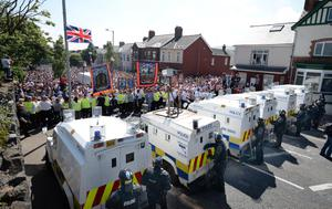 20/7/2013 PACEMAKER PRESS INTL. Thousands of Orange men and loyalists protest on the Woodvale road this afternoon, scene of serious disturbances for the last week or so after Orange men were denied walking past the nationalist Ardoyne shops area of north Belfast on the 12th of July. Picture Charles McQuillan/Pacemaker.