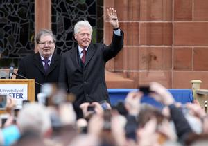 Former SDLP leader John Hume and Bill Clinton pictured in front of the Guildhall. Photo-Jonathan Porter/Presseye.