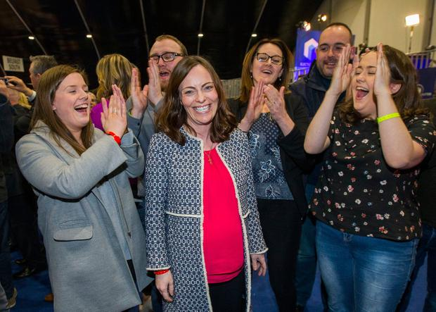 Returned SDLP MLA Nicola Mallon celebrates with supporters at the Titanic Exhibition Centre, Belfast at the Northern Ireland Assembly election count. PRESS ASSOCIATION Photo. Picture date: Friday March 3, 2017. See PA story ULSTER Election. Photo credit should read: Liam McBurney/PA Wire