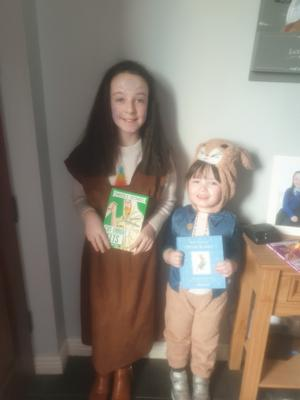 Emily as Peter Rabbit and Lily-Jane as a Cut Throat Celt.