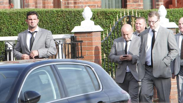 Andre Shoukri arrives at the funeral of pal and UDA crony John Boreland in north Belfast. Picture: Sunday Life.
