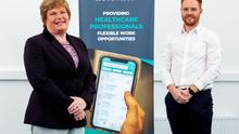 Dr Vicky Kell, Invest NI with Jonny Clarke, founder of Locate a Locum