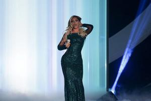 Beyonce on stage during the 2014 Brit Awards at the O2 Arena, London