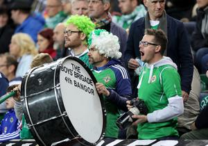 Press Eye - Belfast -  Northern Ireland - 05th October 2017 - Photo by William Cherry/Presseye Northern Ireland fans during Thursdays World Cup Qualifier against Germany at the National Football Stadium at Windsor Park, Belfast.