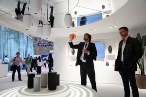 BERLIN, GERMANY - SEPTEMBER 03:  Visitors check out the Wireless Audio 360 sound system at the Samsung stand during a press day at the 2015 IFA consumer electronics and appliances trade fair on September 3, 2015 in Berlin, Germany. The 2015 IFA will be open to the public from September 4-9.  (Photo by Sean Gallup/Getty Images)