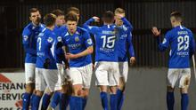 Glenavon's Daniel Larmour during this evenings game at Mourneview Park. Credit: Andrew McCarroll/Pacemaker Press